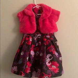 Gymboree fabulous dress/ w faux fur crop jacket